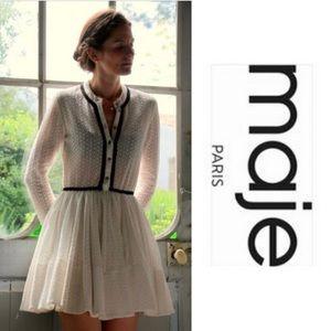 NWT Maje Rayane Puffball Lace Dress Braid Trim 2 M